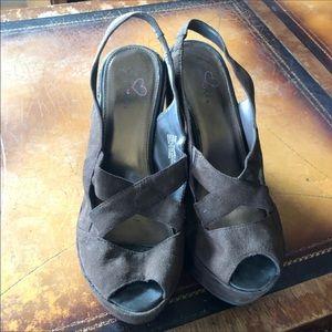 Strappy platform sandals, 9 1/2